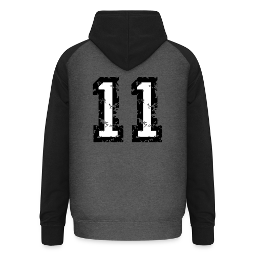 Rückennummer 11 T-Shirt (Herren Rot) - Unisex Baseball Hoodie