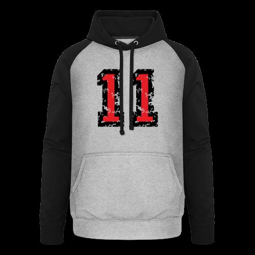 Nummer 11 T-Shirt (Damen Grau) - Unisex Baseball Hoodie