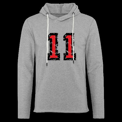 Nummer 11 T-Shirt (Damen Grau) - Leichtes Kapuzensweatshirt Unisex