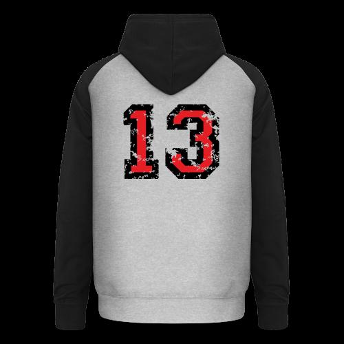 Rückennummer 13 T-Shirt (Herren Grau) - Unisex Baseball Hoodie