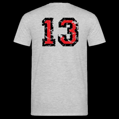 Rückennummer 13 T-Shirt (Herren Grau) - Männer T-Shirt