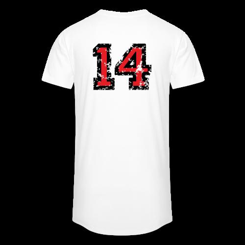 Rückennummer 14 T-Shirt (Herren Grau) - Männer Urban Longshirt