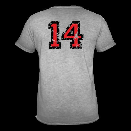 Rückennummer 14 T-Shirt (Herren Grau) - Männer Vintage T-Shirt