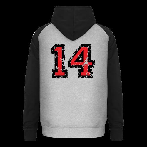 Rückennummer 14 T-Shirt (Herren Grau) - Unisex Baseball Hoodie