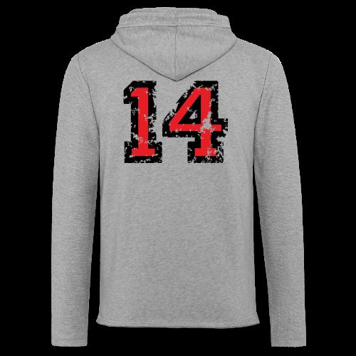 Rückennummer 14 T-Shirt (Herren Grau) - Leichtes Kapuzensweatshirt Unisex