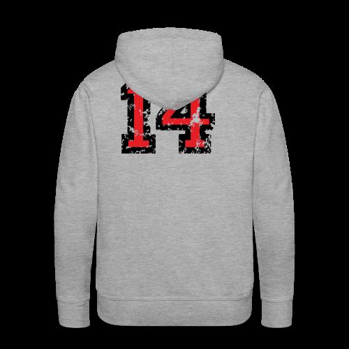 Rückennummer 14 T-Shirt (Herren Grau) - Männer Premium Hoodie