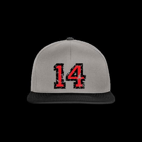 Rückennummer 14 T-Shirt (Herren Grau) - Snapback Cap