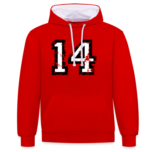 Nummer 14 T-Shirt (Herren Rot) - Kontrast-Hoodie