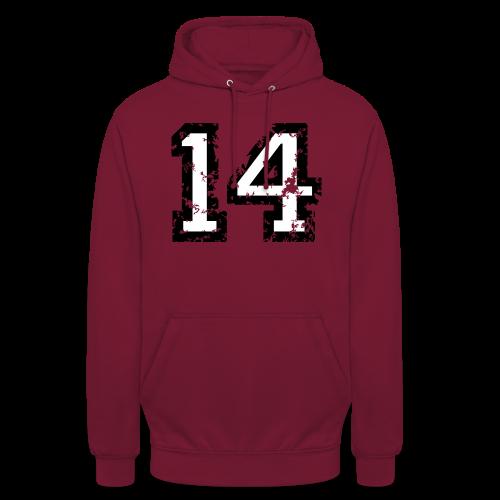 Nummer 14 T-Shirt (Herren Rot) - Unisex Hoodie