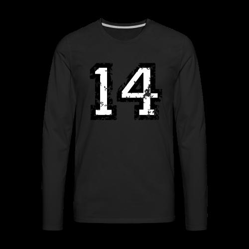 Nummer 14 T-Shirt (Herren Rot) - Männer Premium Langarmshirt