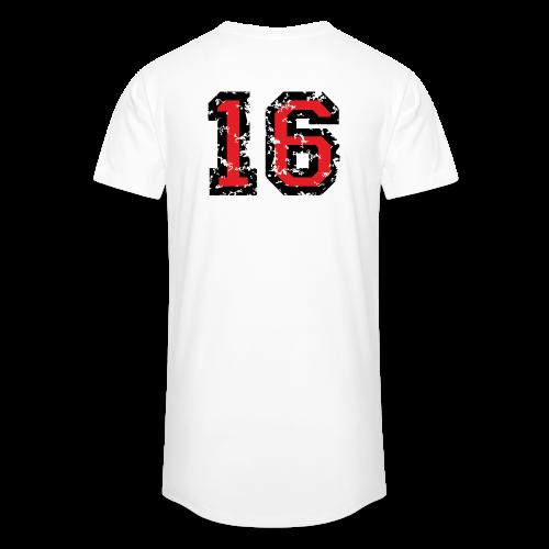 Rückennummer 16 T-Shirt (Herren Grau) - Männer Urban Longshirt