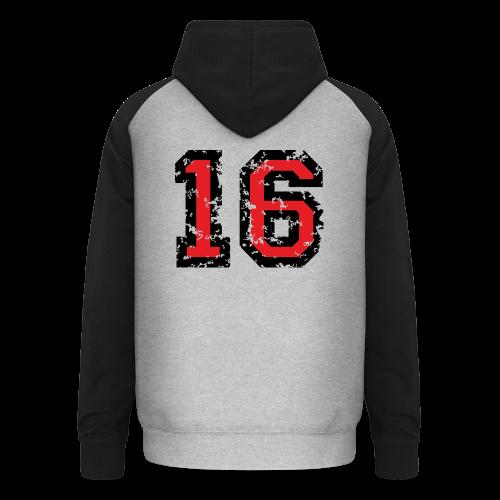 Rückennummer 16 T-Shirt (Herren Grau) - Unisex Baseball Hoodie