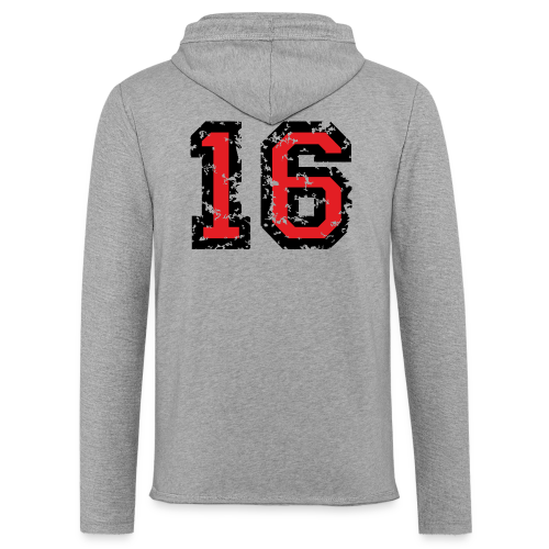 Rückennummer 16 T-Shirt (Herren Grau) - Leichtes Kapuzensweatshirt Unisex