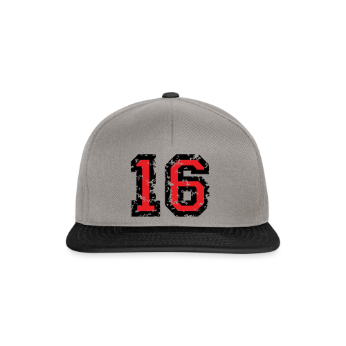 Rückennummer 16 T-Shirt (Herren Grau) - Snapback Cap