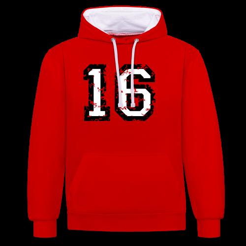 Nummer 16 T-Shirt (Heren Rot) - Kontrast-Hoodie