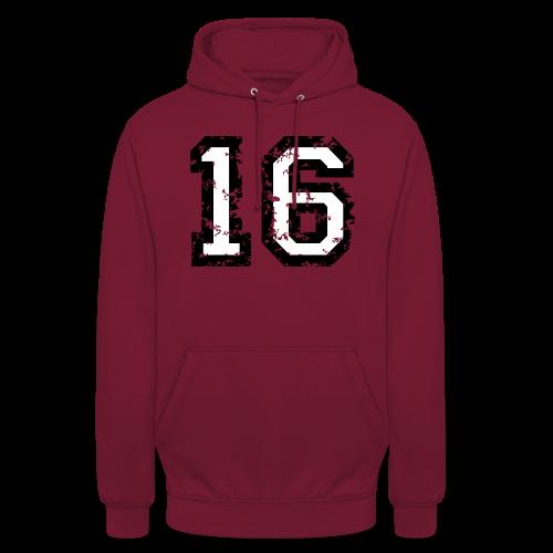Nummer 16 T-Shirt (Heren Rot) - Unisex Hoodie