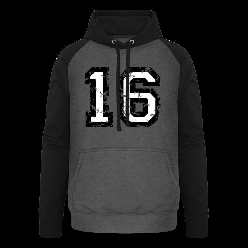 Nummer 16 T-Shirt (Heren Rot) - Unisex Baseball Hoodie