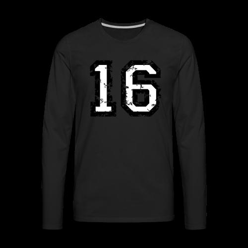 Nummer 16 T-Shirt (Heren Rot) - Männer Premium Langarmshirt