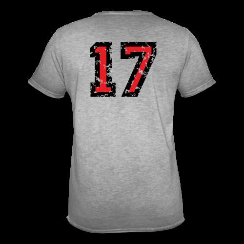Rückennummer 17 T-Shirt (Herren Grau) - Männer Vintage T-Shirt