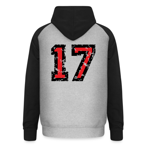Rückennummer 17 T-Shirt (Herren Grau) - Unisex Baseball Hoodie