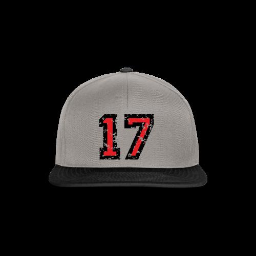 Rückennummer 17 T-Shirt (Herren Grau) - Snapback Cap