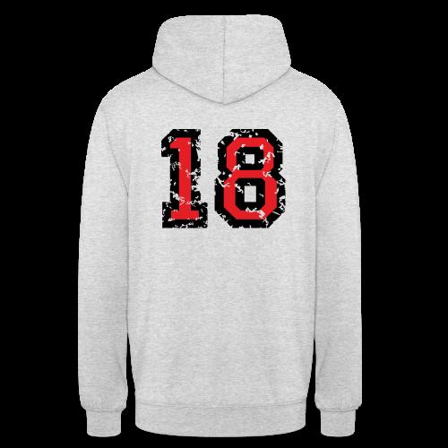 Rückennummer 18 T-Shirt (Herren Grau) - Unisex Hoodie