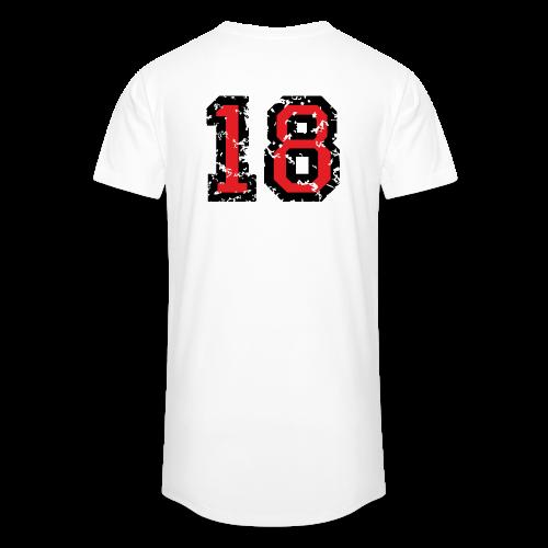 Rückennummer 18 T-Shirt (Herren Grau) - Männer Urban Longshirt