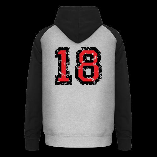 Rückennummer 18 T-Shirt (Herren Grau) - Unisex Baseball Hoodie