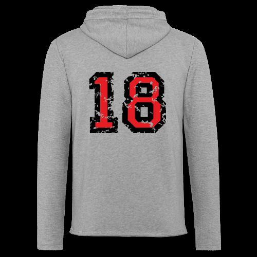 Rückennummer 18 T-Shirt (Herren Grau) - Leichtes Kapuzensweatshirt Unisex