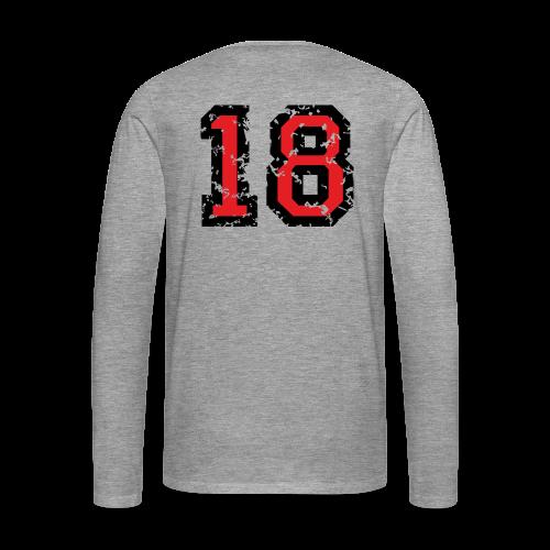 Rückennummer 18 T-Shirt (Herren Grau) - Männer Premium Langarmshirt