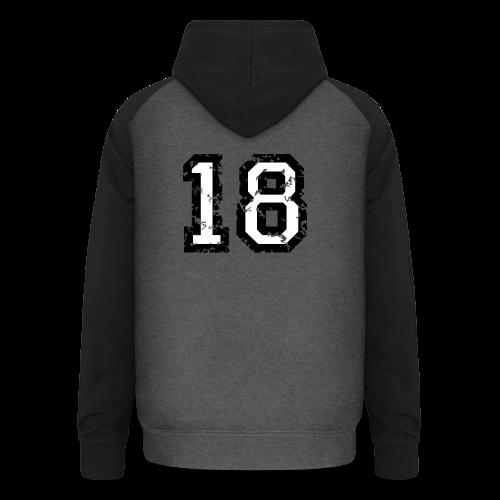 Rückennummer 18 T-Shirt (Damen Rot) - Unisex Baseball Hoodie