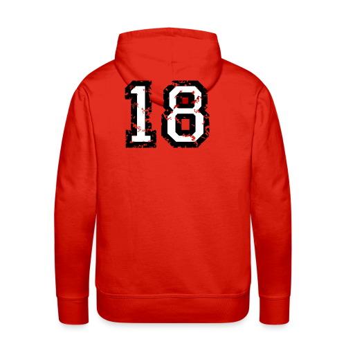 Rückennummer 18 T-Shirt (Damen Rot) - Männer Premium Hoodie
