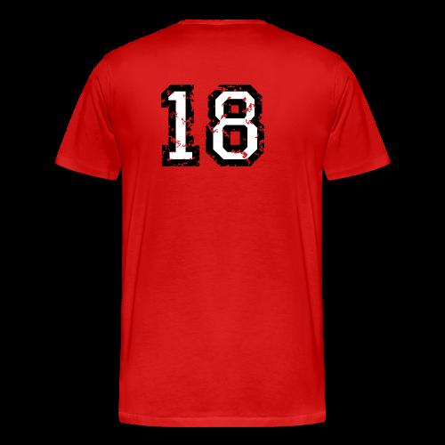 Rückennummer 18 T-Shirt (Damen Rot) - Männer Premium T-Shirt