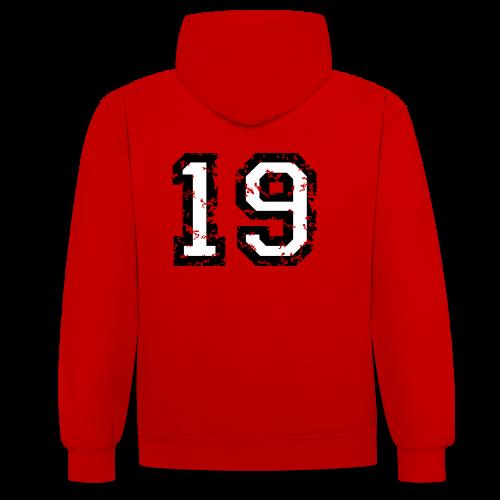 Rückennummer 19 T-Shirt (Herren Rot) - Kontrast-Hoodie