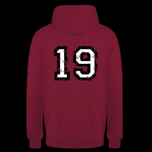 Rückennummer 19 T-Shirt (Herren Rot) - Unisex Hoodie