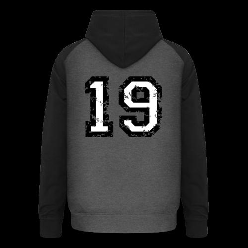 Rückennummer 19 T-Shirt (Herren Rot) - Unisex Baseball Hoodie