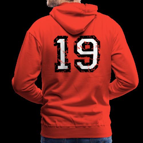 Rückennummer 19 T-Shirt (Herren Rot) - Männer Premium Hoodie