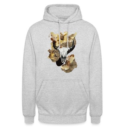 Büffel Schädel Aquarell auf kurzarm Shirt von carographic, Carolyn Mielke - Unisex Hoodie