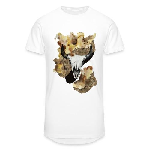 Büffel Schädel Aquarell auf kurzarm Shirt von carographic, Carolyn Mielke - Männer Urban Longshirt
