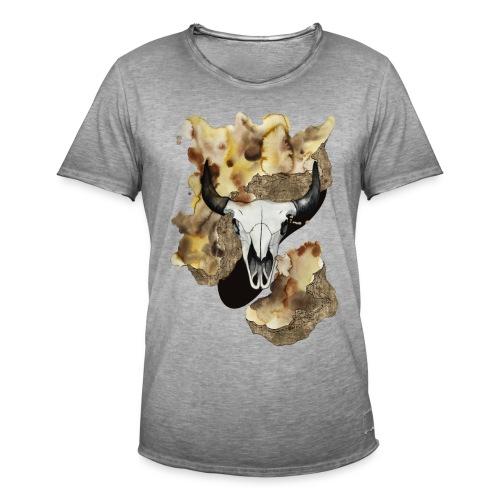 Büffel Schädel Aquarell auf kurzarm Shirt von carographic, Carolyn Mielke - Männer Vintage T-Shirt