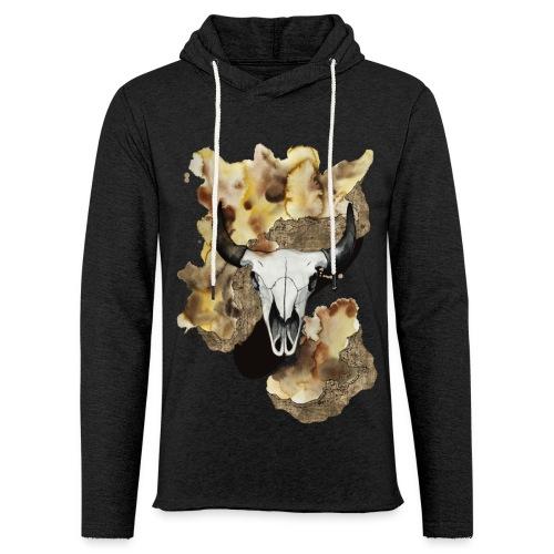Büffel Schädel Aquarell auf kurzarm Shirt von carographic, Carolyn Mielke - Leichtes Kapuzensweatshirt Unisex
