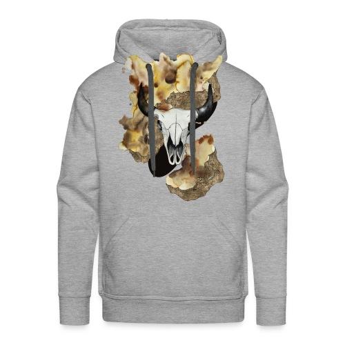Büffel Schädel Aquarell auf kurzarm Shirt von carographic, Carolyn Mielke - Männer Premium Hoodie