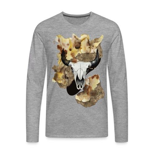 Büffel Schädel Aquarell auf kurzarm Shirt von carographic, Carolyn Mielke - Männer Premium Langarmshirt
