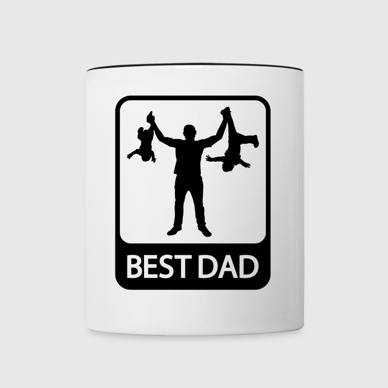 Best Dad - Funny Silhouette - Father and Children  - Contrasting Mug
