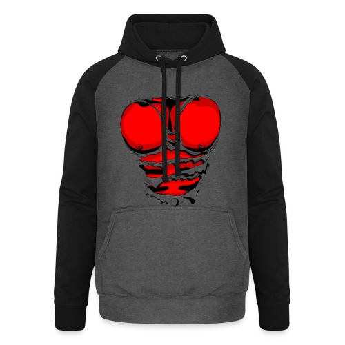 Ripped Muscles Red, six pack, chest t-shirt - Unisex Baseball Hoodie