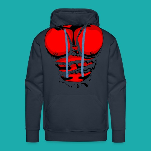Ripped Muscles Red, six pack, chest t-shirt - Men's Premium Hoodie
