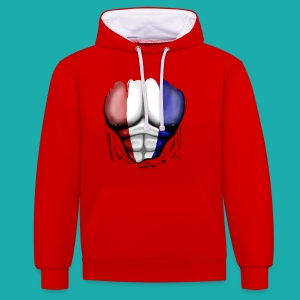 Holland Flag Ripped Muscles, six pack, chest t-shirt - Contrast Colour Hoodie