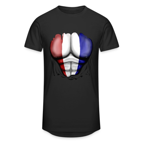 Holland Flag Ripped Muscles, six pack, chest t-shirt - Men's Long Body Urban Tee