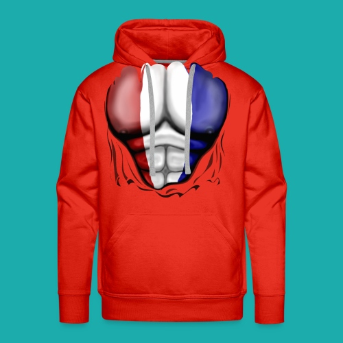 Holland Flag Ripped Muscles, six pack, chest t-shirt - Men's Premium Hoodie
