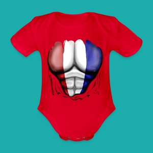 Holland Flag Ripped Muscles, six pack, chest t-shirt - Organic Short-sleeved Baby Bodysuit